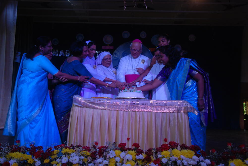 Cutting the celebratory cake